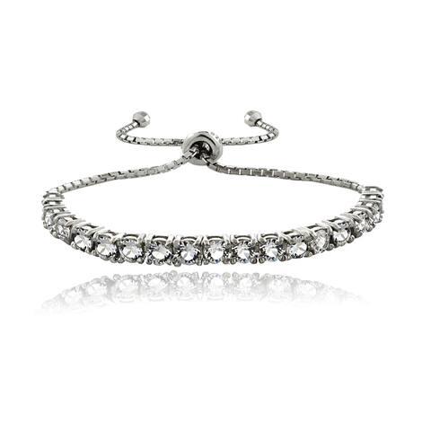 Crystal Ice Sterling Silver Crystal Adjustable Slider Bracelet