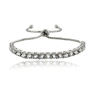Crystal Ice Sterling Silver Crystal Adjustable Slider Bracelet