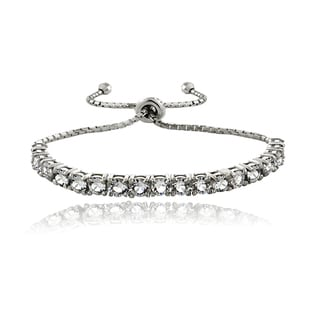 Crystal Ice Sterling Silver Crystal Adjustable Bolo Pull-string Bracelet