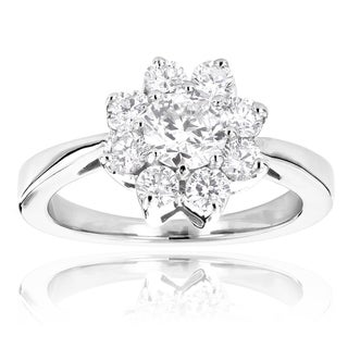 14k Gold Unique Flower 1.2ct Diamond TDW Engagement Ring
