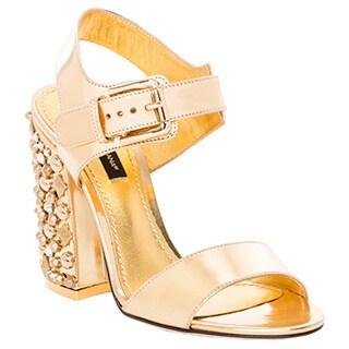 Dolce & Gabbana Studded Lame Calfskin Bianca Sandals