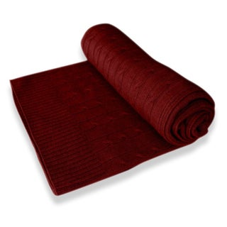 100 Percent Cashmere Cable Knit Throw Blanket (Option: Maroon)