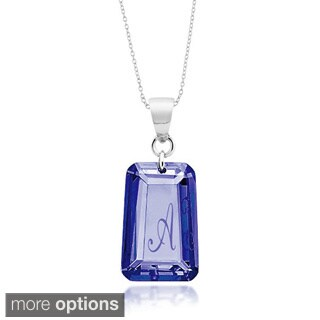 Sterling Silver Sapphire Blue Cubic Zirconia Initial Pendant Necklace