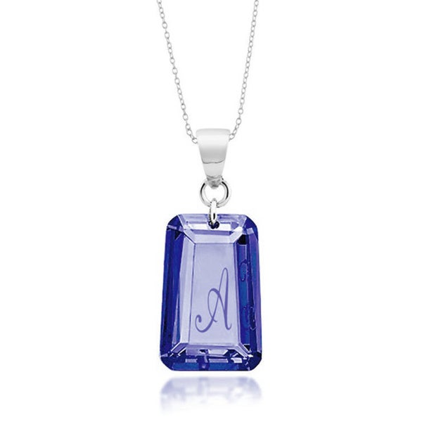 Sterling silver sapphire blue cubic zirconia initial pendant sterling silver sapphire blue cubic zirconia initial pendant necklace aloadofball Image collections