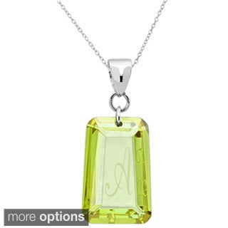 Sterling Silver Peridot Cubic Zirconia Laser Engraved August Birthstone Letter Necklace