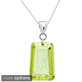 Sterling Silver Peridot Cubic Zirconia Laser Engraved August Birthstone Letter Necklace|https://ak1.ostkcdn.com/images/products/9785711/P16954766.jpg?impolicy=medium