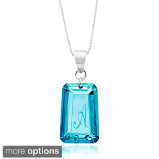 Sterling Silver Blue Cubic Zirconia December Birthstone Initial Necklace