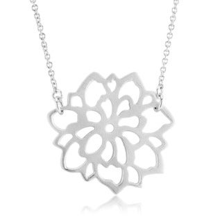 Sterling Silver Matte Finish Carnation Flower Necklace