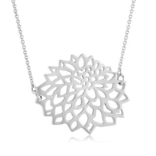 Sterling Silver Matte Finish Flower 18-inch Necklace