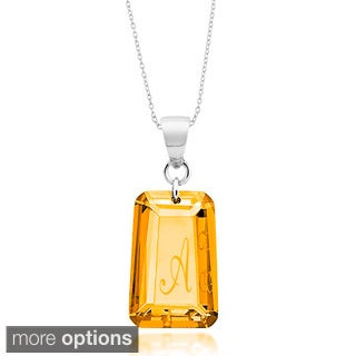 Sterling Silver Orange Cubic Zirconia November Birthstone Initial Necklace