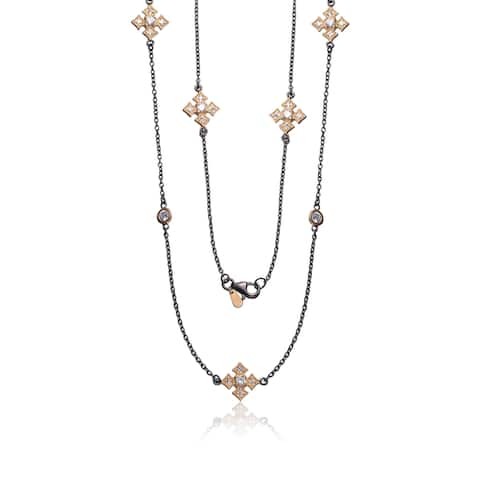 Collette Z Black and Goldplated Sterling Silver Cubic Zirconia Necklace
