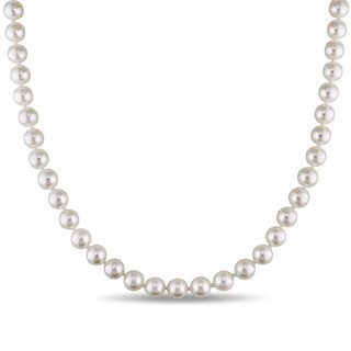 Miadora 14k Yellow Gold Cultured Akoya White Pearl Necklace (7-7.5 mm)