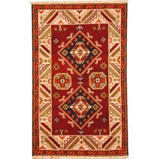 Herat Oriental Indo Hand-knotted Tribal Kazak Burgundy/ Navy Wool Rug (3'1 x 5')