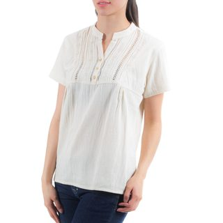 Handmade Women's Cotton 'Daisies in Cream' Tunic (El Salvador)