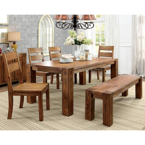 Furniture of America Maiz Rustic Oak Solid Wood 6-piece Dining Set