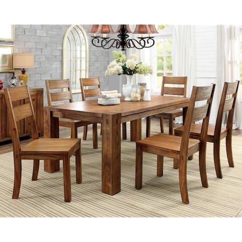 Furniture of America Maiz Rustic Oak Solid Wood 7-piece Dining Set