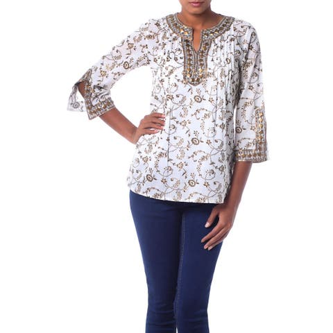 Handmade White Cotton Tunic with Floral Block Print and Beading (India)