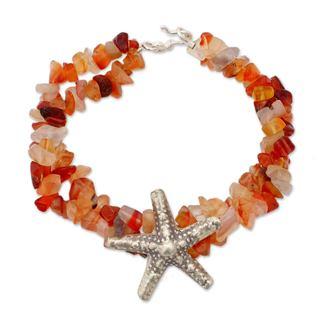 Sterling Silver 'Starfish Glow' Chalcedony Bracelet (Thailand)