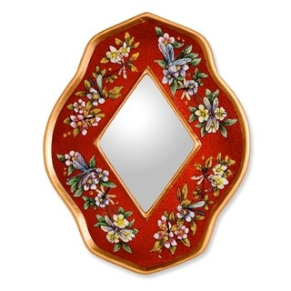 Reverse Painted Glass 'Red Summer Garden' Mirror (Peru)