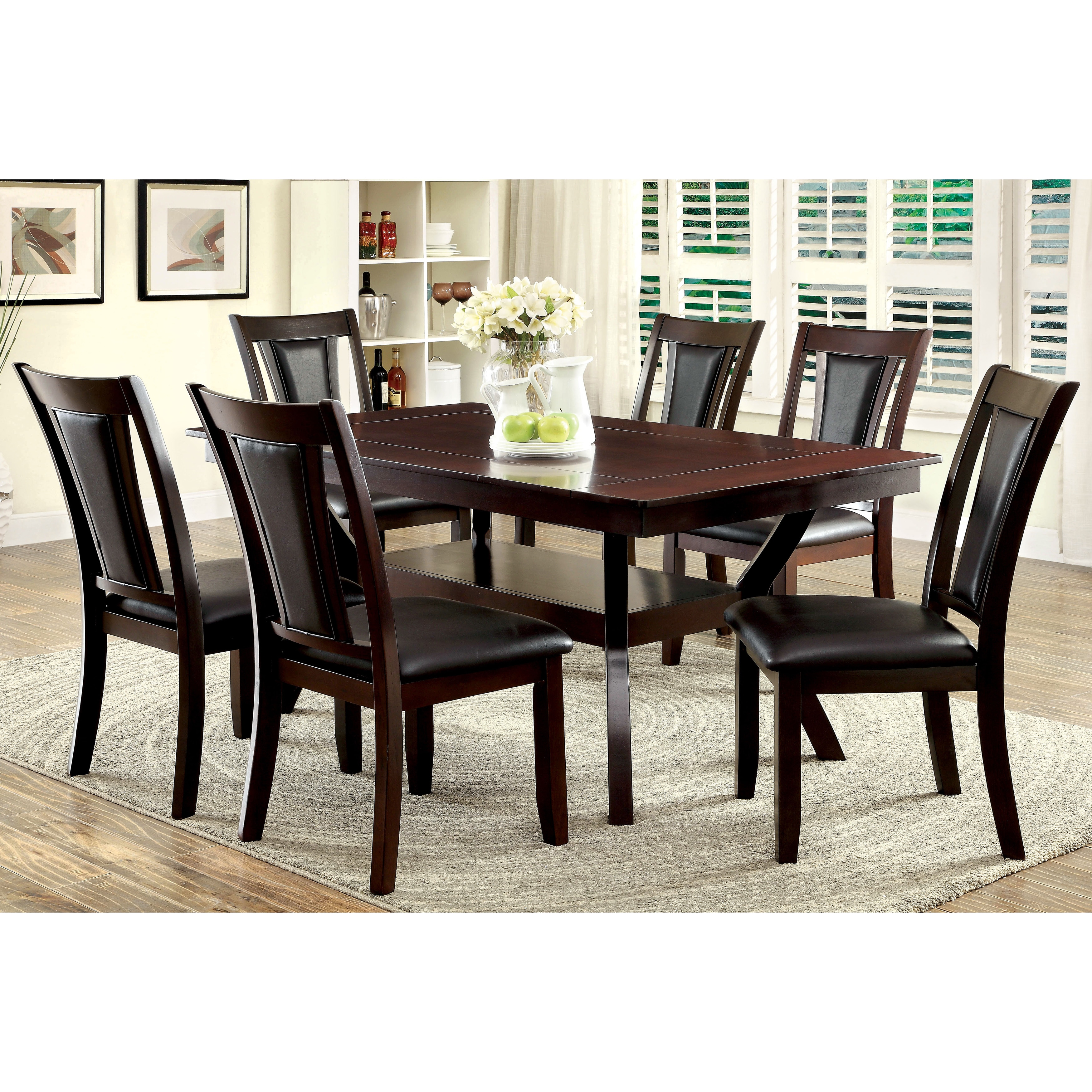 Furniture of America Dionne Dark Cherry Dining Table (Woo...