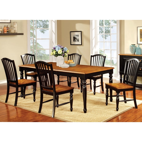 Furniture Of America Levole Two Tone Country Style 18 Inch Leaf Dining Table