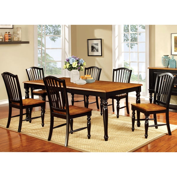 furniture of america levole two tone country style dining chair set