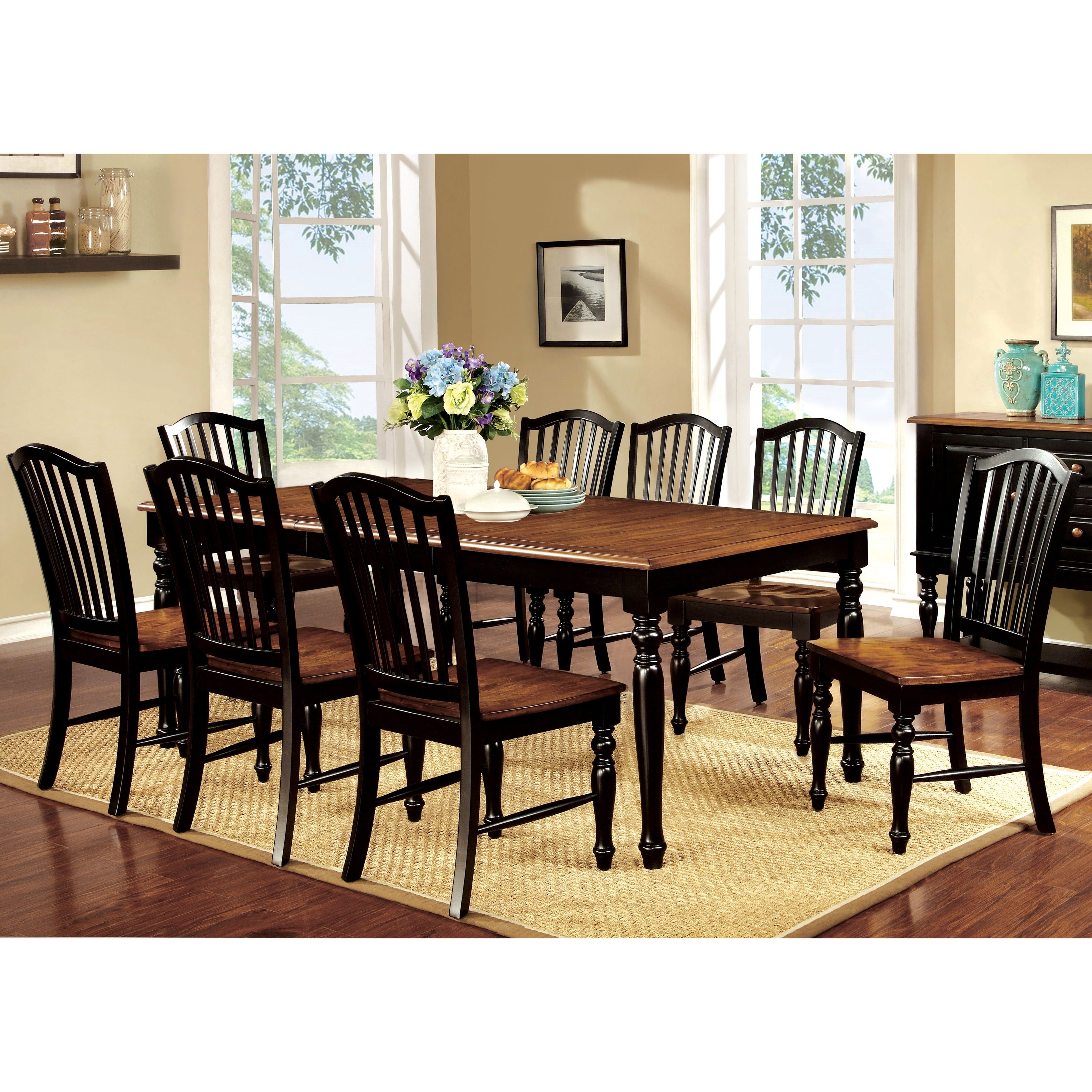 Furniture of America Levole 2-Tone 9-Piece Country Style ...