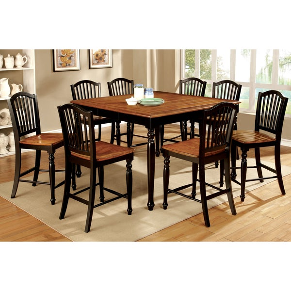 Rustic 8 Person Large Kitchen Dining Table Solid Wood 9 Pc: Furniture Of America Levole Two-tone 9-piece Country Style