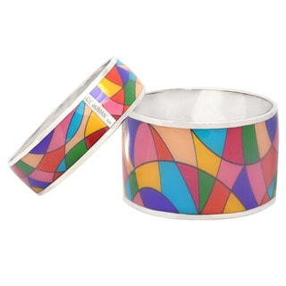 "De Buman Sterling Silver ""Color Palette"" Multicolor Enamel Bangle Bracelet"