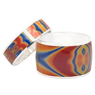 "De Buman Sterling Silver ""Dream"" Enamel Bangle Bracelet"