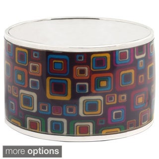 De Buman Sterling Silver Color Windows Enamel Bangle Bracelet