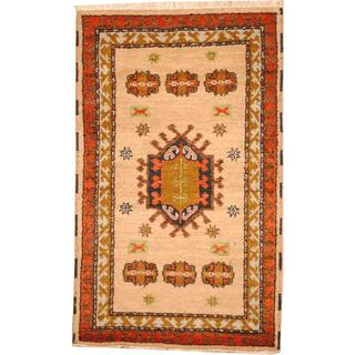 Herat Oriental Indo Hand-knotted Tribal Kazak Grey/ Brown Wool Rug (3' x 5')