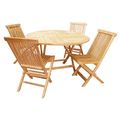 D-Art Collection Teak Crestwood Round Dining Set - 1 Table and 4 Chairs