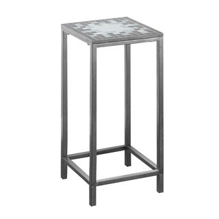 Grey/ Blue Tile/ Hammered Silver Plant Stand
