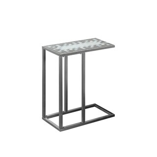 Grey/ Blue Tile with Hammered Silver Metal Accent Table