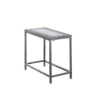 Grey/ Blue Tile Top and Hammered Silvertone Metal Accent Side Table