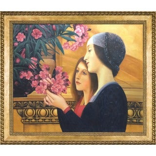Gustav Klimt Two Girls with an Oleander (right detail) Hand Painted Framed Canvas Art