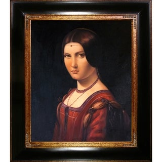 Leonardo Da Vinci Portrait of an Unknown Woman Hand Painted Framed Canvas Art