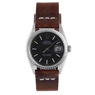 Pre-Owned Rolex Men's Stainless Steel 1600 Datejust Brown Strap Black Dial Watch