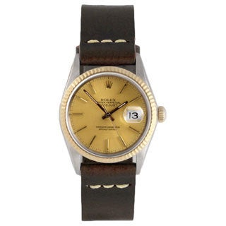 Pre-Owned Rolex Men's Brown Strap Goldtone Dial Fluted Bezel Datejust Watch