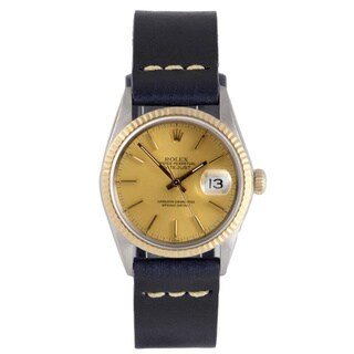 Pre-Owned Rolex Men's Two-Tone 1600 Datejust Champagne Dial Watch