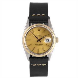 Pre-Owned Rolex Men's Two-Tone 1600 Datejust Black Leather Watch