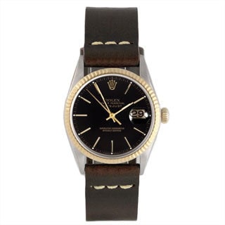Pre-Owned Rolex Men's Two-Tone 1600 Datejust Brown Leather Watch