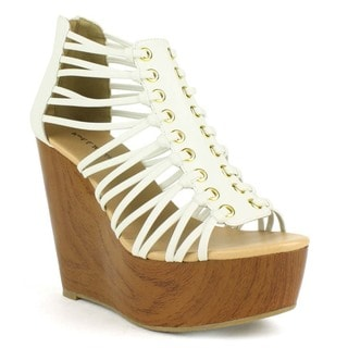 Mark and Maddux Women's Asia-05 Peep-toe Wedge Platform Wooden-wrapped Wedge