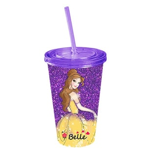 Disney Princess Beauty And The Beast Belle Glitter Acrylic Travel Cup