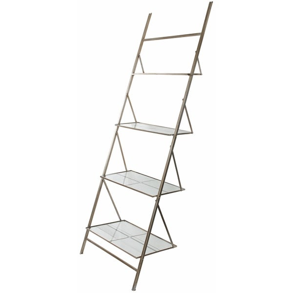 Bessa Metal and Glass Leaning Ladder Shelf - Free Shipping Today - Overstock.com - 16956552