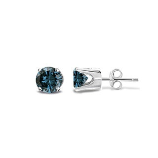 DB Designs 14k White Gold 1/4ct TDW Blue Diamond Stud Earrings