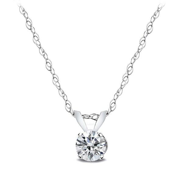 DB Designs 14k White Gold 1/4ct TDW Diamond Solitaire Necklace