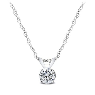 DB Designs 14k White Gold 1/4ct TDW Diamond Solitaire Necklace (G-H, I2-I3)