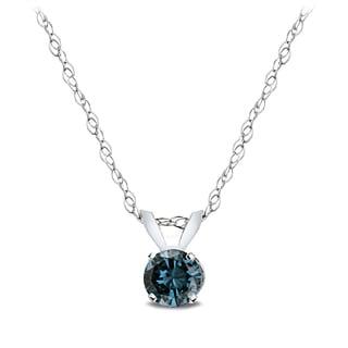 DB Designs 14k White Gold 1/4ct TDW Blue Diamond Solitaire Necklace